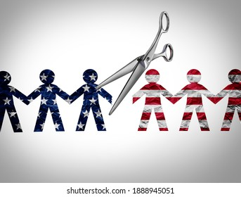 United States crisis and a divided America in chaos or US social violence and political war as conservative and liberal political division and ideology conflict with 3D illustration elements.