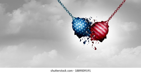 United States crisis and a divided America in chaos or US social fight and political clash for USA culture as conservative and liberal political division with 3D illustration elements.