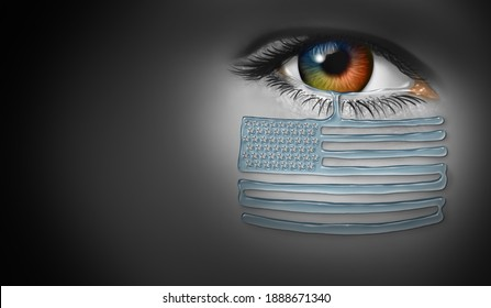United States In crisis and political chaos in the US as a patriotic American citizen crying with tears of sadness representing loss and the tragic violence in a 3D illustration style.