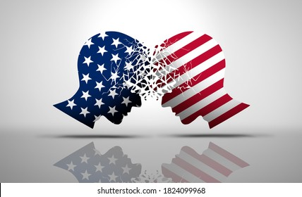 United States debate and US social issues argument or political war as an American culture conflict as conservative and liberal political dispute and ideology in a 3D illustration style.