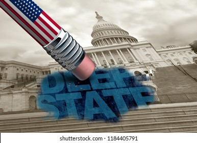 United States deep state and American secret politics concept and United States political conspiracy symbol of a secretive underground government bureaucracy with 3D illustration elements.