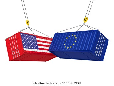 United States and European Union Cargo Container Isolated. Trade war Concept. 3D rendering