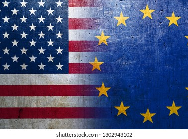 United States and European Union flags on the grunge metal background