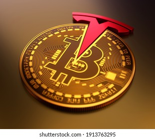 United States February 2021:Tesla buys dollar 1.5 billion in bitcoin. Tesla invests in Crypto Currency. Red Tesla logo with goldish bitcoin. You can buy tesla car with bitcoins. 3D Illustration.