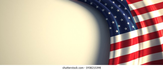The United States Flag. 3d illustration of the waving national flag with a copy space.