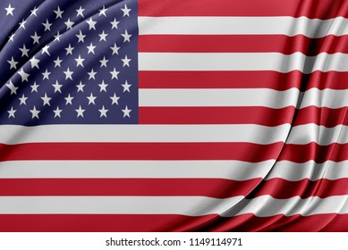 United States flag. Flag with a beautiful glossy silk texture.
