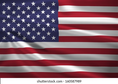 United states flag blowing in the wind. Background texture.