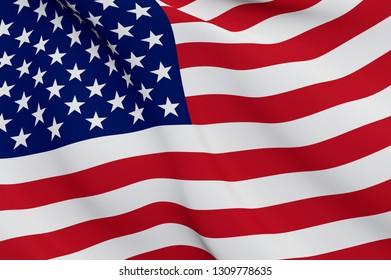 United States Flag Close Up Illustration. Waving flag of USA
