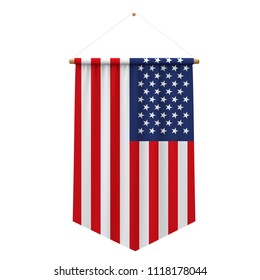 United States flag cloth hanging banner. 3D Rendering