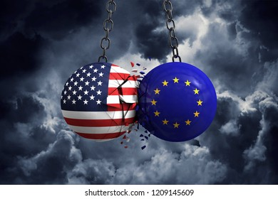 United States flag and European union political balls smash into each other. 3D Rendering