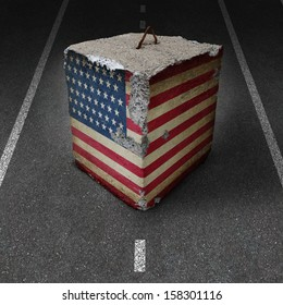 United States government shutdown roadblock obstacle business concept with a cement or concrete cube with an old American flag blocking a road or highway as an icon of political gridlock and embargo.