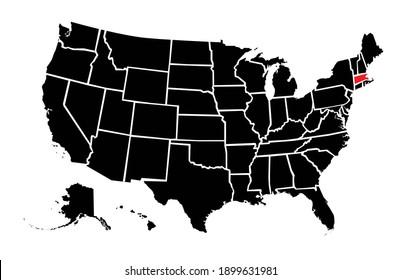United States highlighted plain map of  massachusetts