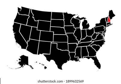 United States highlighted plain map of  new hampshire