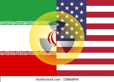 United States and Iran flag with semi-transparent nuclear symbol.
