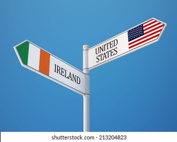 United States Ireland High Resolution Sign Flags Concept