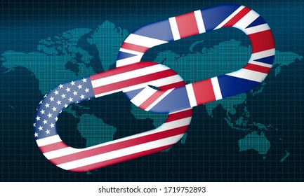 United States and United Kingdom  with chain., 3d rendering
