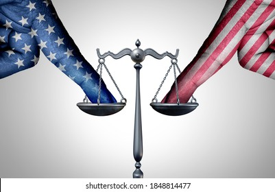 United States legal battle and american law justice concept with a the finger of people influencing the USA legal system for a legislative advantage with 3D illustration elements.