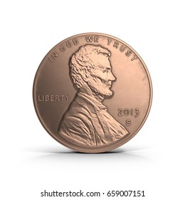 United States Lincoln Penny on white. 3D illustration