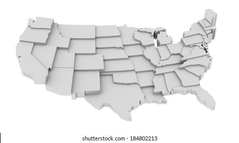 United States map by states in various high levels. Abstraction of parts of a whole. This icon serves as idea of raised platforms to show data information related to every state.