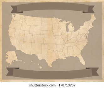 United States map on vintage parchment with banners