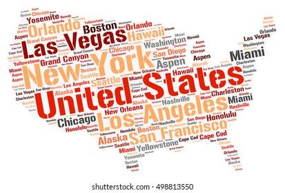 United States map silhouette word cloud with most popular travel destinations
