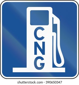United States MUTCD road road sign - Gas station with CNG.