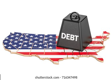 United States national debt or budget deficit, financial crisis concept, 3D rendering