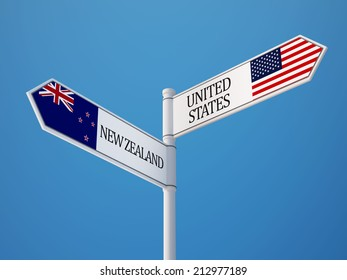 United States New Zealand High Resolution Sign Flags Concept