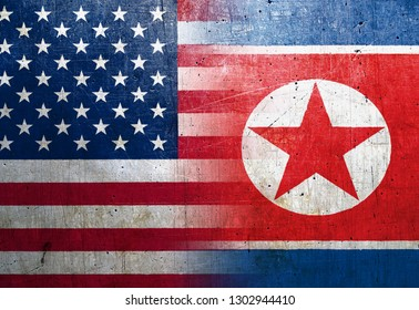 United States and Nort Korea flags on the grunge metal background