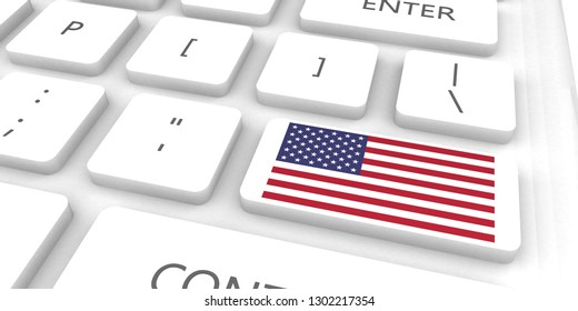 United states Racing to the Future with Man Holding Flag 3D Render