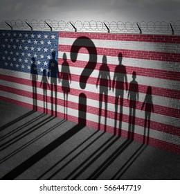 United States refugee question and immigration government policy as extreme vetting for banned newcomers in America as the cast shadow on a wall with a US flag with 3D illustration elements.