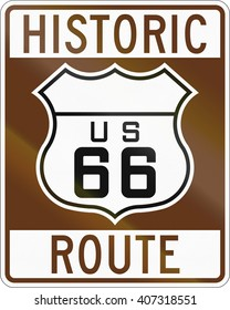 United states Route shield of the historic Route 66.