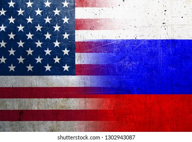 United States and Russia flags on the grunge metal background