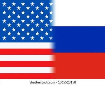 United States And Russian Flags Make Combined Background. Cyber Crime  Criminal Campaign by Russian Government To Hack Elections In The USA Using Illegal Online Spying.