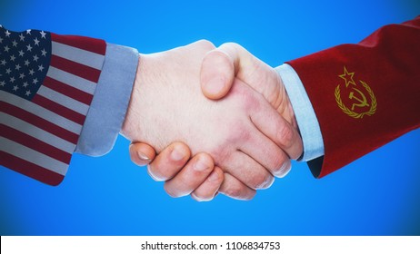 United States - Soviet Union / Handshake concept about countries and politics