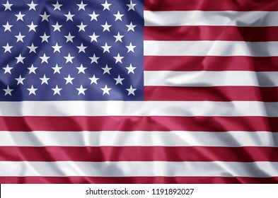 United states stylish waving and closeup flag illustration. Perfect for background or texture purposes.