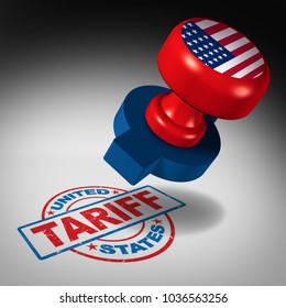 United States tariffs and American trade tariff in the US as a stamp mark as an economic import and exports tax or duty concept as a 3D illustration.