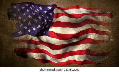United States torn flag 3d render