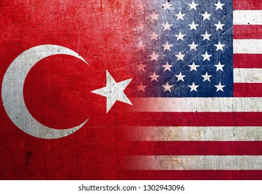 United States and Turkey flags on the grunge metal background