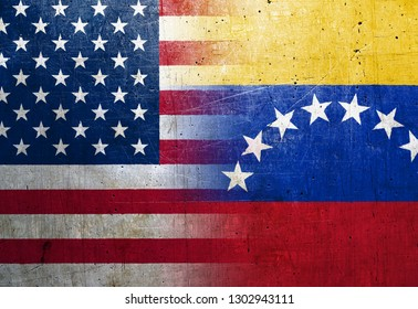 United States and Venezuela flags on the grunge metal background
