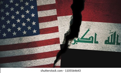 United States vs Iraq  Flags on Cracked Wall