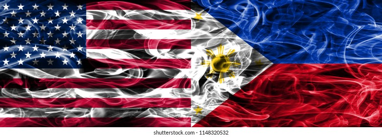 United States vs Philipines smoke flags concept placed side by side