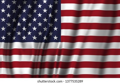 United States waving flag illustration. Countries of North and Central America. Perfect for background and texture usage.