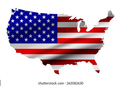 Map Usa National Flag On Fabric Stock Photo Edit Now 510735229