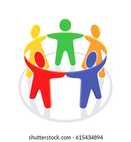 Unity in the group, illustration on white, 3D illustration