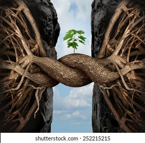 Unity growth concept and bridge the gap business symbol as two tree roots on a high cliff merging together bridging together to form a new sapling as an icon of partnership success and strength.