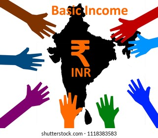 Universal Basic Income -  Colorful hands reach inside, where the symbol of the Indian currency is written on a map.