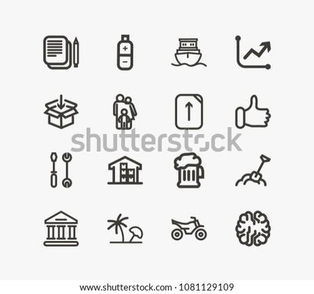 Universal Icon Set Family Maintenance Energy Stock Illustration
