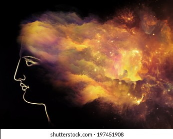Universal Mind series. Creative arrangement of human head and fractal clouds as a concept metaphor on subject of mind, dreams, thinking, consciousness and imagination