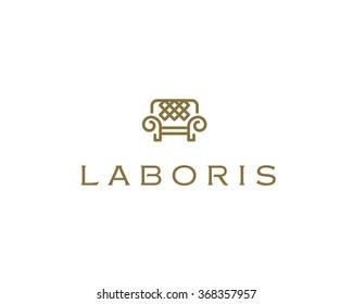 Universal premium furniture logo. Luxury universal interior design logotype symbol. Style line couch sofa chair icon sign.